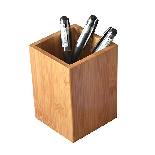 (YOSCO Bamboo Wood Desk Pen Pencil Holder Stand Multi Purpose Use Pencil Cup Pot Desk Organizer)
