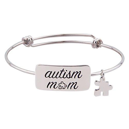 Autism Puzzle Piece Charm - Love Inspirational Puzzle Piece Charm Wishing Autism Bracelet (Autism mom)