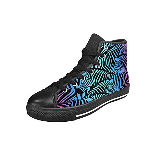 INTERESTPRINT Women's High Top Canvas Casual Sports Sneaker Colorful Zebra US11 (High Sneakers Zebra Top)