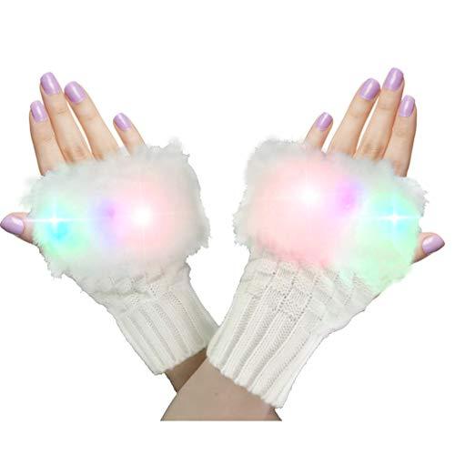 Daxin LED Light up Gloves Thermal Finger Light Gloves for Kids Adults Glow Rave EDM Gloves Funny Novelty Gifts (beige)