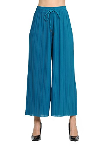 GAAM Wide Leg Pleated Palazzo Dress Pants for Women - High Waist with Drawstring - Cropped Ankle Blue