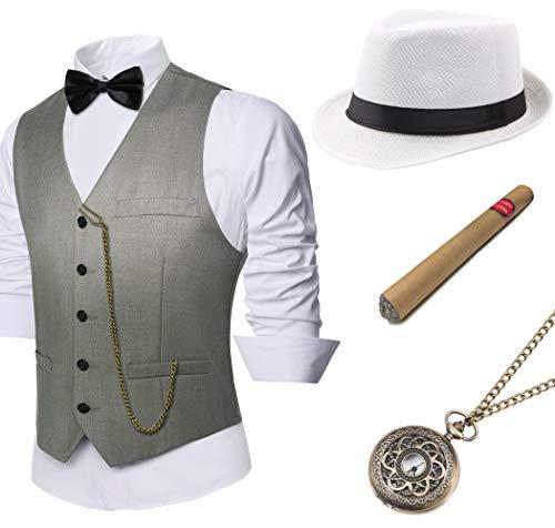 BABEYOND 1920s Mens Gatsby Gangster Vest Costume Accessories Set Manhattan Fedora Hat Bowtie Plastic Cigar Vintage Pocket Watch (Gray, Large -