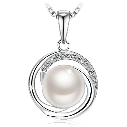 "Freshwater Cultured Pearl Pendant (J.Rosée Sterling Silver Necklace for Women 925 Sterling Silver 3A Cubic Zirconia Freshwater Cultured Pearl Pendant Necklace Fine Jewelry Gift Packed ""Forever Love"")"