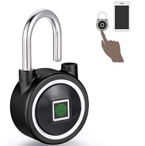 Fingerprint Biometric Bluetooth Padlock Metal Keyless Gym Lock for Portable Luggage Travel Lock Rechargeable USB Backpack Padlock and Cabinet Locker Lock for Office Drawer Suitcase Lock