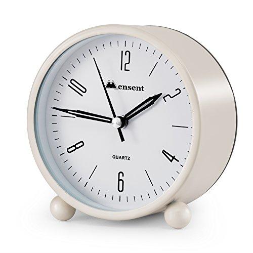 Alarm Clock.Mensent 4 inch Round Silent Analog Alarm Clock Non Ticking,with Night Light, Battery Powered Super Silent Alarm Clock, Simple Design Beside/Desk Alarm Clock (Analog Round Timepieces)
