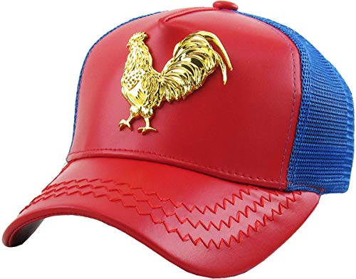 KBVT-Rooster RED-Roy Rooster Gold Emblem Trucker Cap Adjustable Snapback Hat