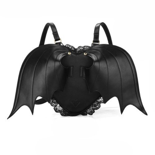MakerFocus Novelty Black Bat Wings Backpack Wing Gothic Goth Punk Lace Lolita Bag -