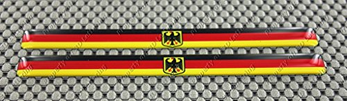 GERMANY (GERMAN) WIDE FLAG 3D DOMED Decal Sticker (2pcs)