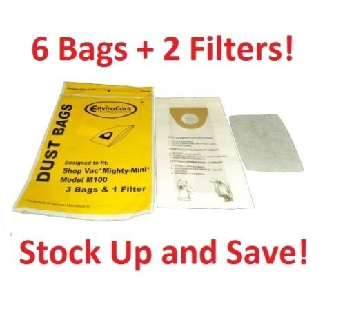 6 Shop Vac Mighty Mini M100 Vacuum Cleaner Bag Replacements -6 Bags + 2 Filters (Shop Mini Mighty Vac)