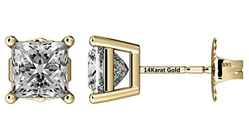 NANA Silver Princess CZ Stud Earrings with 14k Solid Gold Post-5.0mm-1.50cttw-Yellow Gold Plated 14k Yellow Gold Mounting