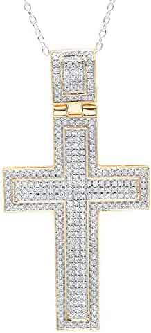 0.82 Carat (ctw) 10K Gold Round Diamond Men's Cross Pendant 3/4 CT (Silver Chain Included)