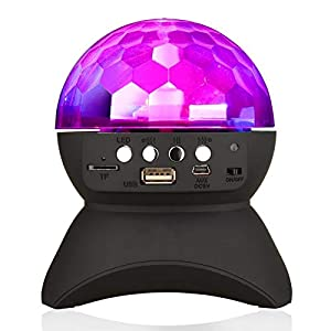 Home Party Light Bluetooth Speaker LED Rotating Projection Lamp Crystal Magic Ball DJ Stage Lighting Wireless Stereo Speaker Support USB TF Card for Adult Kids Home Party Dance Disco KTV Wedding