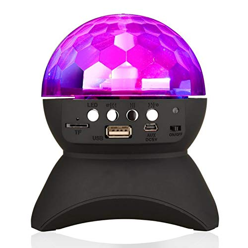 Home Party Light Speaker LED Rotating Crystal Magic Ball DJ Stage Lighting Wireless Bluetooth Stereo Speaker Support USB MicroSD TF Card Kids Gift Toys for Birthday Party Dance Disco Home KTV Wedding