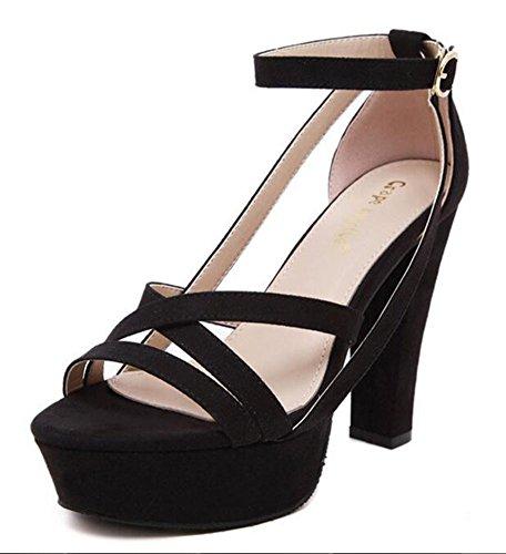 Chfso Womens Élégant Daim Solide Sangle Croisée À Bout Ouvert Boucle Cheville Sangle Haute Chunky Plate-forme Sandales Noir