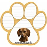 Dachshund, Red Notepad With Unique Die Cut Paw Shaped Sticky Notes 50 Sheets Measuring 5 by 4.7 Inches Convenient Functional Everyday Item Great Gift For Dachshund, Red Lovers and Owners