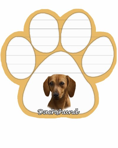 Image of Dachshund, Red Notepad With Unique Die Cut Paw Shaped Sticky Notes 50 Sheets Measuring 5 by 4.7 Inches Convenient Functional Everyday Item Great Gift For Dachshund, Red Lovers and Owners