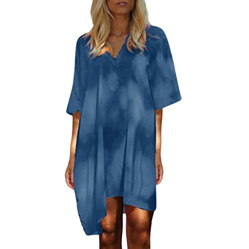 Toponly Short Sleeves Dresses Women Solid V-Neck Oversized Dress Loose 1/2 Sleeved Ruffled Kaftan Mini Dress -