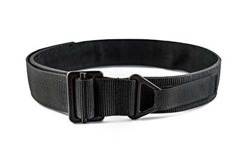 WOLF TACTICAL Heavy Duty Rigger's Belt - Stiffened 2-Ply Emergency Rescue Belt for Concealed Carry EDC Survival Wilderness Hunting CCW Combat Duty (Black (Black Buckle), M (34-39)) (Officer Military Magazine)