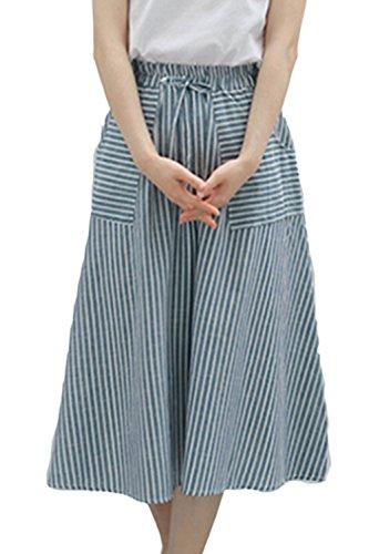 Les Femmes Rayures Midi Rtro avec des Poches De Longues Jupes lastique Blue