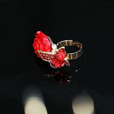 Wicemoon Fait /à la Main Bague de fian/çailles Fille Magnifique Reglable Anniversaire Noel Saint Valentin Fete des Meres