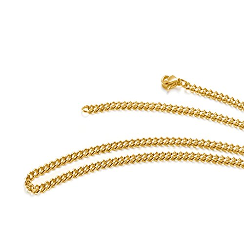 TRUSUPER Jewelry 2mm Titanium Steel Womens Beveled Curb Link Chain Gold Plated Necklace, 18