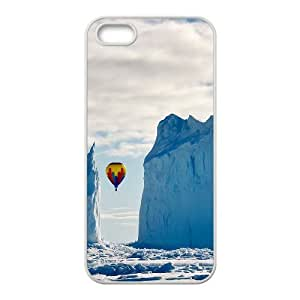Dustin Balloon IPhone 5,5S Case Funny Design Hot Air Balloon in the Mountains, Color Case for Iphone 5s [White]