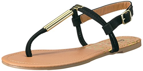 Qupid Women's Archer-335 Flat Sandal, Black, 7.5 M US