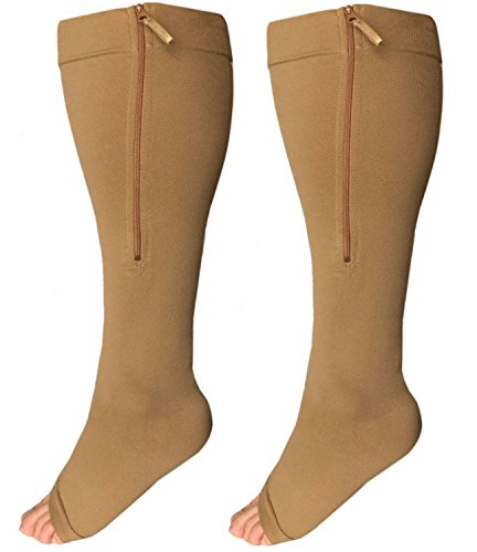 Runee Wide Calf Zipper Compression Socks, Open Toe, Extra Calf Support