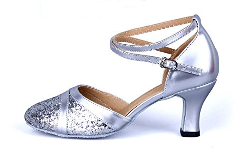 Sparkly Glittering Latin Ballroom Dance Shoes with Leather Straps Silver ON8s1aOQ6