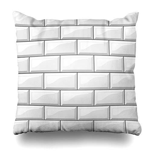 - Ahawoso Throw Pillow Cover Metro White Tiles Subway Wall Brick Apartment Ceramic Design Decorative Cushion Case 16x16 Inches Square Home Decor Pillowcase