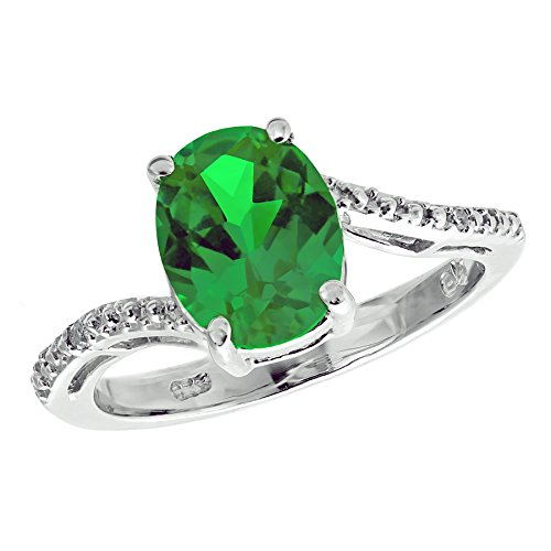 Lavari – 2.2 Ct Oval Created Emerald .01 cttw Diamond 925 Sterling Silver Ring