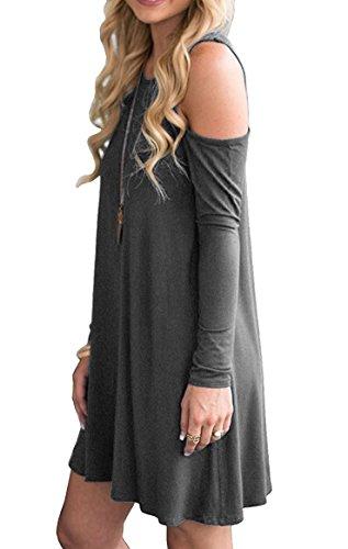 Swing Top Shirt with PCEAIIH Gray Women's 3 long Shoulder dark Pockets Cold Sleeve T Summer Loose Tunic Dress FAFYXx