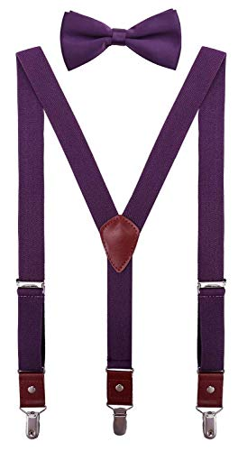 CEAJOO Kids Suspenders and Bow Tie Set Adjustable Y Back 30