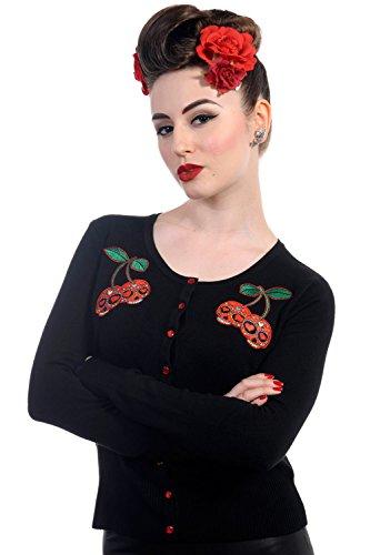 Banned Rockabilly Pinup Skull Cherries Black knit Cardigan (M) (Rockabilly Womens Cardigan)