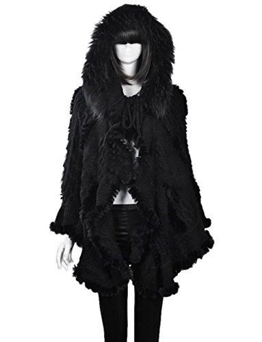 Easting Women's Large Real Genuine Rabbit Fur Knit Cape Stole (Black Rabbit Knit Jacket)