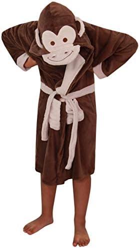 Ni ntilde;os Ni ntilde;as Ni ntilde;os Albornoz 3D Animal Monkey Bata Fleece Night Lounge Wear