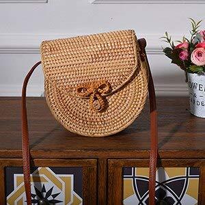 New Bohemian Rattan Bags for Women Beach Messengers Summer Vintage Saddle Bag Handmade Weaving Crossbody Bag (Bow Knot) ()