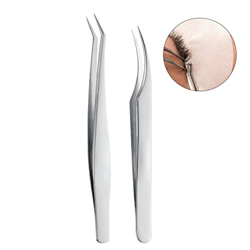 Straight Extension Handle - PRETTY SEE Stainless Steel Eyelash Extension Tweezers Straight and Curved Pointed Tweezers Eyelash Tip Tweezers, Set of 2