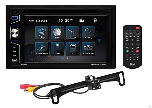 BOSS Audio Elite BV755BLC Car DVD Player With Rearview Backup Camera – Double Din, Bluetooth Audio and Calling, 6.2 Inch LCD Touchscreen, MP3 Player, CD/DVD, USB/SD, Aux Input, AM/FM Radio Receiver