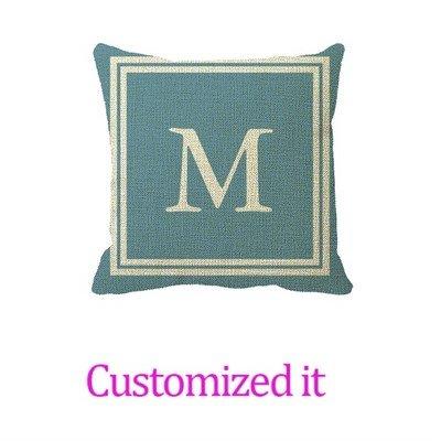 White On Carolina Blue Double Frame Monogram Decorative Pillowcase Linen Burlap Throw Pillow Sham Cushion Cover 18 x 18