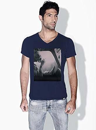 Creo Cigarette Skulls T-Shirts For Men - M, Blue