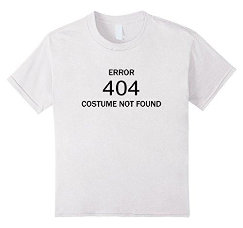 [Kids Error: 404 Costume Not Found Funny Halloween Costume Shirt 12 White] (404 Error Message Costume)