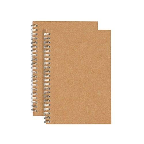 Alloyseed Soft Cover Spiral Journal Notebook (2-Pack), Wirebound Journal Memo Notepads Diary Notebook Planner Acid-Free Cream White Thick Ruled Paper, 100 Pages, 50 Sheets Khaki(Lined Paper)