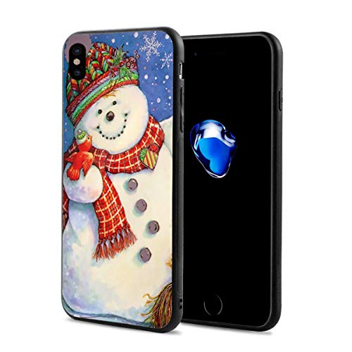 (Creative iPhone Xs Case Black Rubber Protective Case Cover Cute Christmas Snowman Art for iPhone X iPhone Xs 5.8 Inch Originality Max)