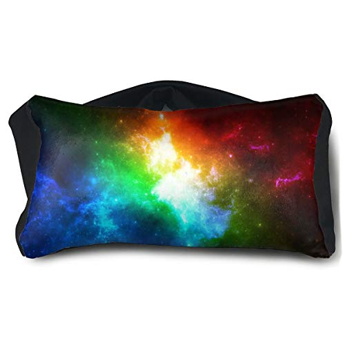 ROCKSKY Eye Mask Pillow for Headaches Sleeping - Colorful Galaxy Eye Mask Pillow, Elastic Sleep Eye Mask Pillow Eyeshade 2 in 1 Travel Pillow and Eye Mask, Washable
