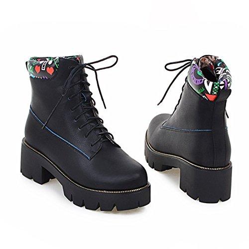 YE Damen Chunky Heels Ankle Boots High Heels Stiefeletten Plateau mit Schnürung und Blockabsatz 5cm Modern Bequem Schuhe Schwarz