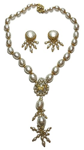 Vintage Miriam Haskell Faux Pearl Drop Necklace And Earrings Set (Haskell Costume Jewelry)