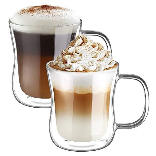 Ecooe Doble Pared de Vidrio de Borosilicato Tazas para el Te Cafe con Leche Latte Capuchino Jugo 2x350ml