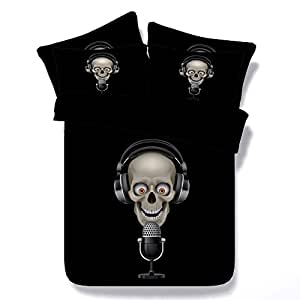 3D Music Skull Bedding Set Halloween Duvet Cover Twin Full Queen king Cal King Size Bed Cover Pillow Shams for Men Teens Adults Children Boys Home Textile Bedspreads (Twin)