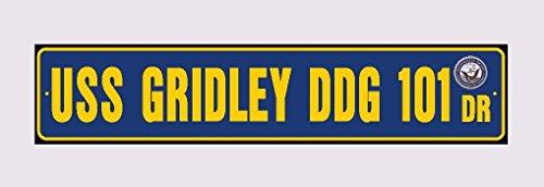 USS GRIDLEY DDG 101 Street Sign Aluminum Navy Blue / Yellow 6